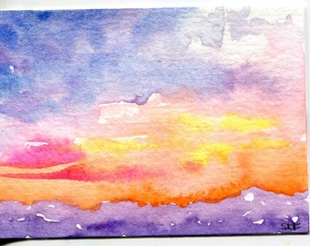 ACEO original Sunset watercolor painting, Sharon Foster Art