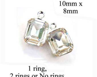 Crystal Glass Beads, Octagon, Silver or Brass Settings, 10mm x 8mm, Framed Glass Gems, Cabochon, Rhinestones, One Pair