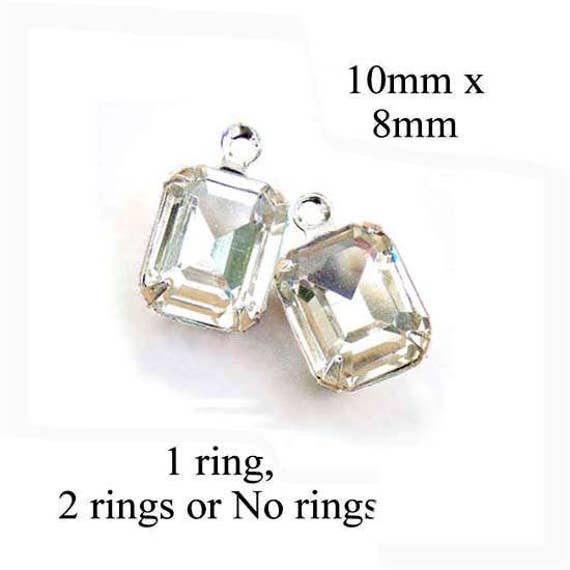 emerald cut crystal earring jewels... crystal octagon glass gems