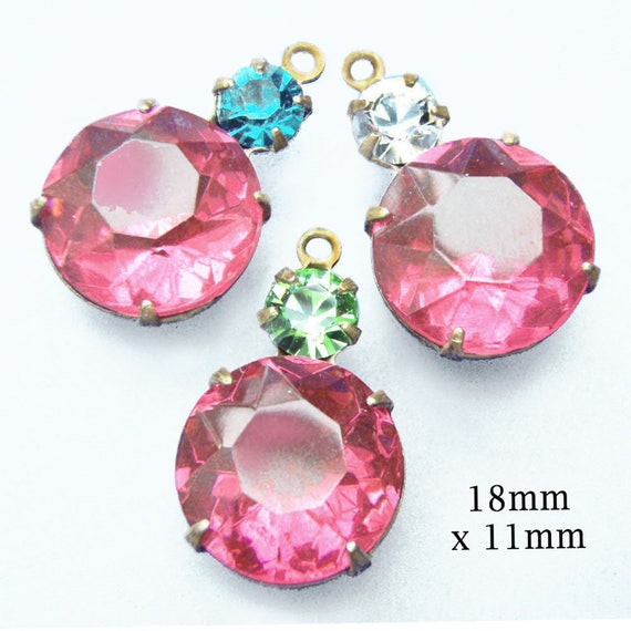 rose pink vintage glass gems in multi stone prong settings ... silver and brass settings are available