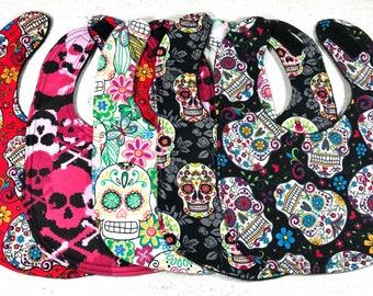 Skulls Baby Bib - Set of Bibs - Sugar Skulls - Gothic - Baby Girl - Baby Shower Gift - handmade - Skull