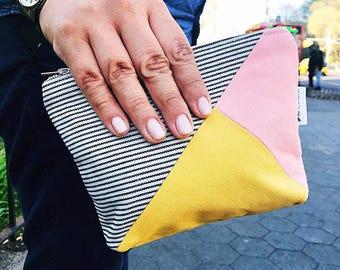 Makeup Bag, Canvas Makeup Bag, Cosmetic Bag, Canvas Bag, Women's Toiletry Bag, Zipper Pouch, Striped Beauty Bag