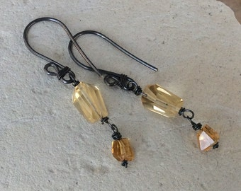 CITRINE Nugget Earrings, sterling silver jewelry, handmade artisan jewelry, Angry Hair Jewelry