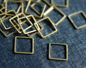 NEW Perfect Squares 12mm (Thicker) - Raw Brass - 24pcs - Square Connector, Brass Square, Square Link, Square Ring