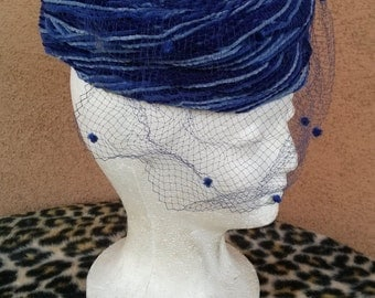 Vintage 1960s Pillbox Hat Blue Chenille Veil 60s Hat Something Blue 2014496