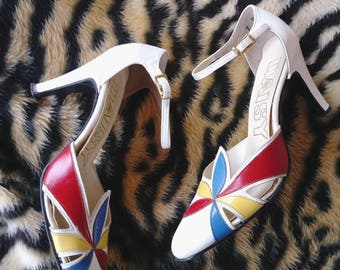 Vintage 1970s Shoes Mary Jane High Heel Ankle Strap 70s Pumps US7