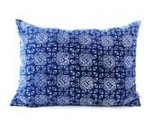 Blue Batik Indigo Hmong Textile Linen Rectangle Pillow - Boho Linen Decorative Pillow- Down Filler Included