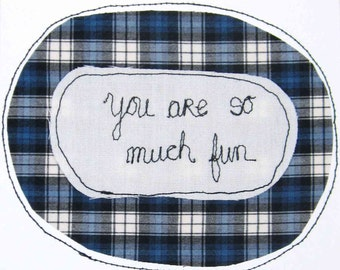 Greeting Card Blank Inside Stitched Text Drawing with Thread Fun I Like You Friendship Romance Dating Relationships Blue White Black Plaid