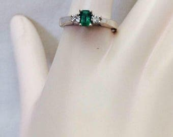 14k White Gold Emerald and Diamond Ring Size 6.75  Free Priority Shipping  reduced price