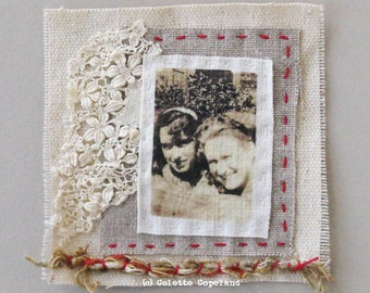 Mini art quilt, vintage photo, hand stitched, OOAK