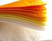 YELLOWS Wool Blend Felt Pack 10 squares