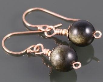 Gold Sheen Obsidian Earrings. Rose Gold Filled Ear Wires. Golden Obsidian. Small Drop Earrings. Genuine Gemstone.