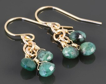 Emerald Cluster Earrings. 3 Stones. Gold Filled Ear Wires. Genuine Emeralds. May Birthstone. s17e060