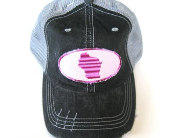 Distressed Trucker Hats - Wisconsin Home Pink on Gray hat