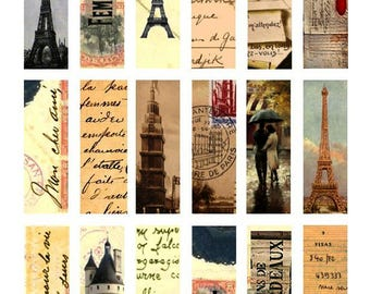 French Experience No. 1 - 1x3 Inch - Digital Collage Sheet - Instant Download