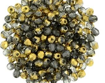 2mm Czech Gold 1/2 Firepolish Round Glass Beads 50 pcs