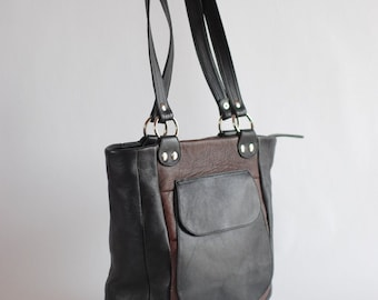 Black and brown tote bag, handmade, upcycled leather