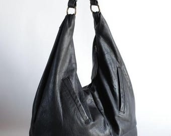 Black leather hobo bag, upcycled leather bag, large bag, slouchy leather bag,