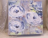white and blue  flowers impasto oil painting 6 x 6 inches very deep edges