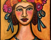 Frida in Blue 9x12 painting Mexican Folk art original