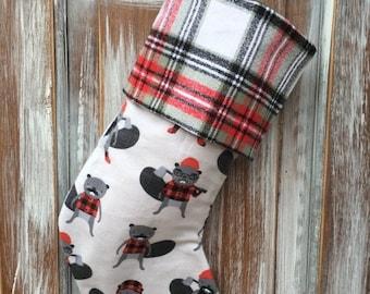 SALE- Flannel Beaver Stocking -Christmas Stocking-Burly Beaver