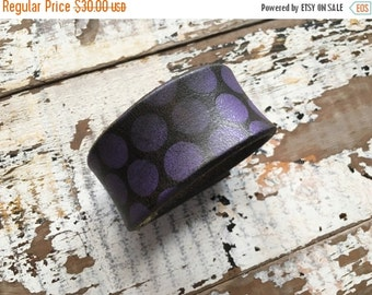 FLASH SALE- Custom Leather Cuff-Create Your Own-Purple Polka Dots-Word Cuff-Hand Painted