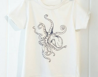 Blue Octopus Organic Toddler T Shirt