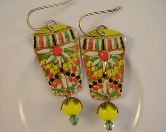 Spring Garden - Vintage Recycled Hand Cut Yellow Floral Tin Earrings - Upcycled Repurposed Jewelry - 10th Anniversary Gift