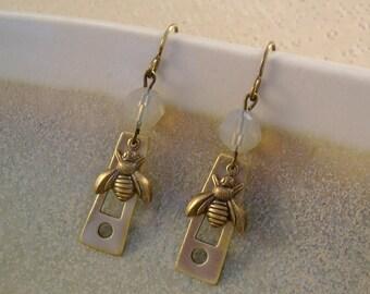 The Bee Keeper  - Vintage Industrial Flange Honey Bees Swarovski Sand Opals Recycled Repurposed Steampunk Earrings Jewelry