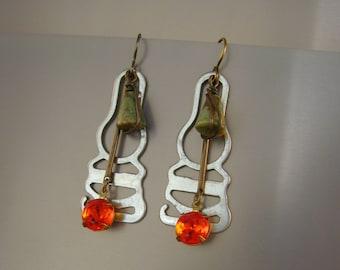 Unmentionables  - Vintage Garter Hooks Green Agate Beads Orange Rhinestones Recycled Repurposed Earrings Jewelry