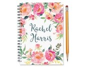 Customized Journal, Custom Notepad, Personal Diary, Add a Name, Personalized Journal, Custom Notebook, Pink Watercolor Flowers