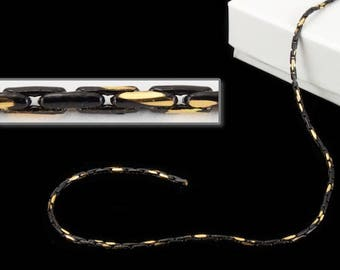 1.25mm Black/Gold Two Tone Beading Chain #CC132