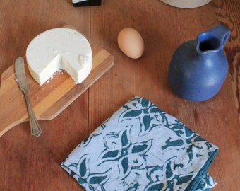 slate blue linen tea towel