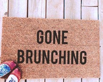 GONE BRUNCHING. Natural CoCo Coir Fiber Modern Tagged Outdoor Welcome Mat Custom doormat