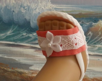 """Doll Sandals Shoes for 18"""" doll and 13-14"""" doll and 14.5"""" doll (You Choose Size) Coral Pink Medley NEW Item"""
