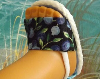 """Doll Sandals for 18"""" Doll and 13-14"""" Doll and 14.5"""" Doll (You Select Size) Summer Blueberry Print"""