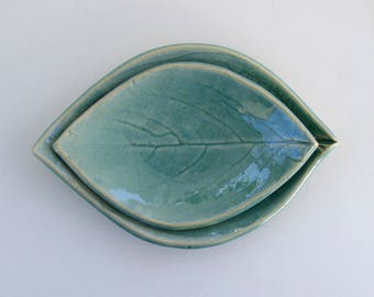 Ceramic Leaf Plates, Hand Built, Nested,  Persimmon, Robin Egg Blue