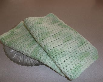 Crochet Dish/Wash/Spa/Bath Cloths -Green with Light Green  Scented - Gift Idea
