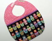 Baby Bib- Baby Girl-Russian Doll-Toddler Bib-Baby Shower Gift