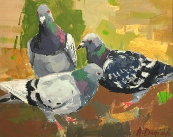 Pigeons on Grass