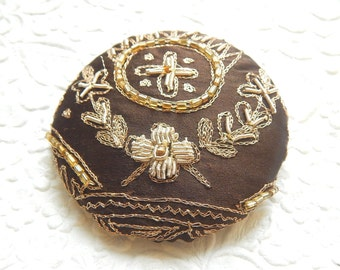 Brown beaded embroidered  fabric covered button, size 100 button, 2.5 inches, 6.35 cm, 63.5mm