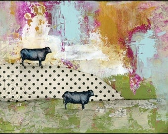 Cow Print- Modern Farmhouse Wall Art,  Modern Canvas Print or Art Print on Paper, Giclee Prints with Farmhouse Style