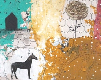 Black Horse Decor, Abstract Landscape, Original Wall Art for Your Modern Farmhouse Style