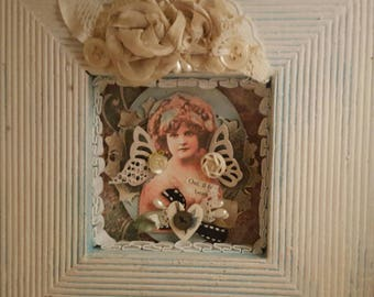 Shabby chic angel vintage girl collage assemblage shadow box cottage decor with buttons lace old photo French text ribbon chalk paint