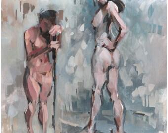 Original 16x20 Two Figures Painting OOAK