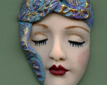 Polymer Clay OOAK  Art Nouveau   Detailed Art Doll  Face   ANF 1