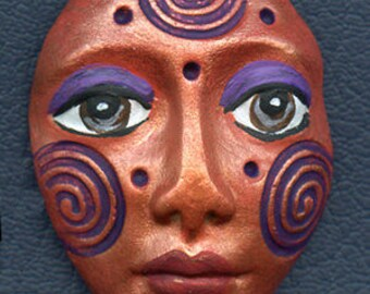 Polymer Clay One of a Kind  Spirit Doll  Copper Detailed Face Cab Un Drilled SF 4