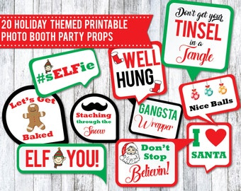 20 Holiday Printable Party Photo Booth Props - INSTANT DOWNLOAD