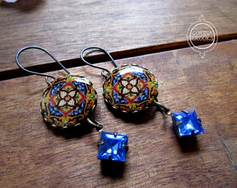 Ethnic jewelry, Ethnic earrings, Mexican jewelry, Folk art, Talavera pottery design, Mexican plate, Blue vintage crystal