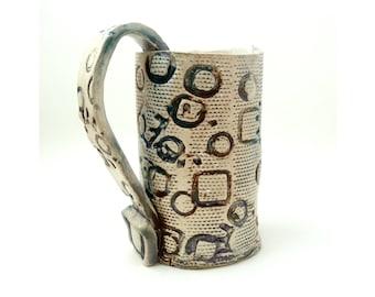 Handbuilt Coffee Cup, Tea Mug, Slab Built, OOAK Cup, Blue and Brown, Heavily Textured Everything Mug, Cone 6, Handled Mug, BFF Gift